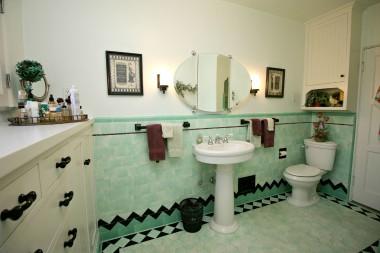 Alternate view of hallway bathroom.