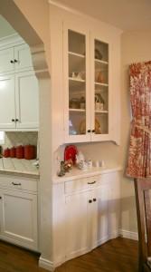 Original built-in corner hutch in breakfast nook.