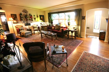 Living room view towards front door.