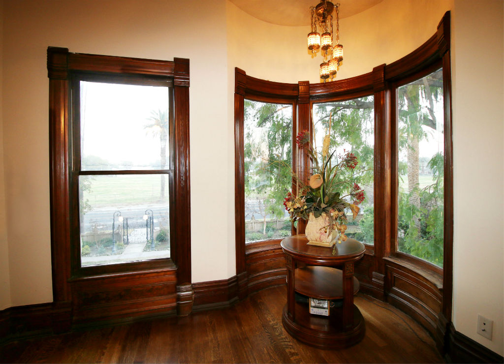 Incredibly gorgeous turret with original curved leaded glass windows!