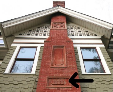 The south chimney bears the '1888' date of its construction! Such detail throughout this house even extends to the unique chimneys.