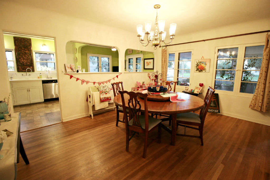 spacious formal dining room with original hardwood floors and coved ceiling wall was opened in - Light Hardwood Castle 2015