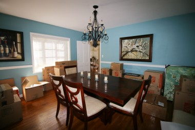 Pardon the moving boxes in the photo of the formal dining room, but it was the only opportunity to take photos.