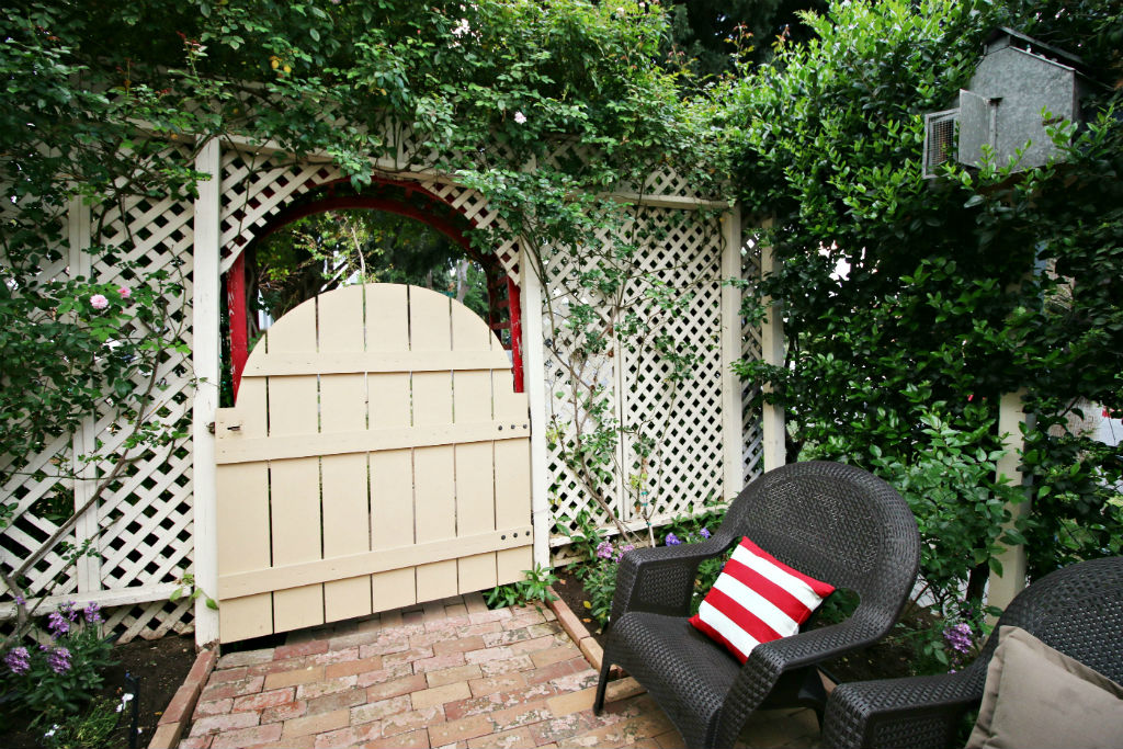 Charming Private Gate Off Side Patio Which Leads To The Front Yard. The  Antique Tin