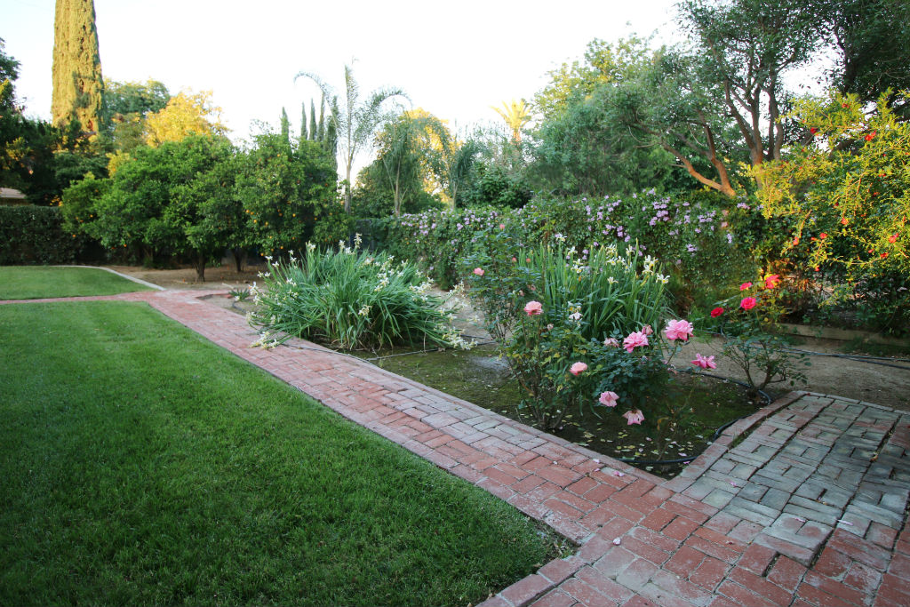 Citrus trees, rose garden and other lovely flowering plants along a brick walkway.