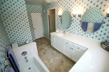 Alternate view of remodeled hallway bathroom with separate shower stall.