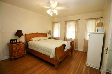 Spacious master bedroom with walk-in closet.