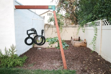 Great private area just behind the garage perfect for gardening or children's swingset.