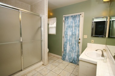 Master bathroom with large shower and door to backyard.