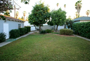 Charming backyard with grapefruit and Valencia orange trees, perimeter pathway, with shed and garden area behind garage.