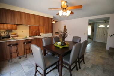 Alternate view of dining area and spacious kitchen.