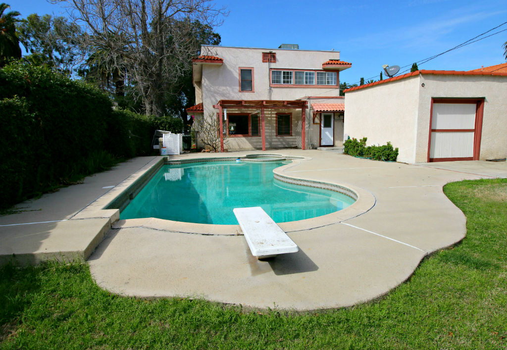 Lovely Backyard With In Ground Pool/spa, And Rear View Of 2