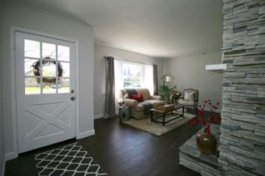 Front door and living room.
