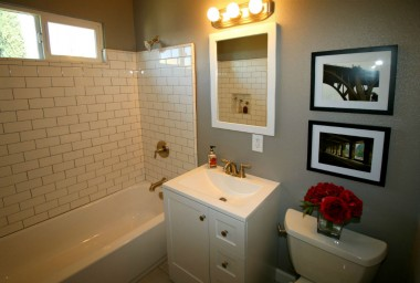 Gorgeous remodeled bathroom with subway tile.