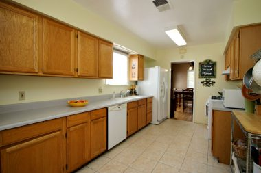 Updated kitchen with lots of cabinetry.