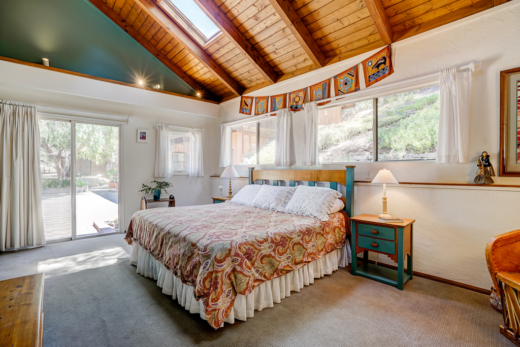 Enormous master bedroom with cathedral wood ceiling with sky lights and a slider, and view of wildlife hill behind the house.