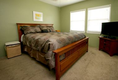 Master bedroom with extra closet space and private 3/4 bathroom.