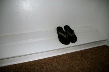 Original built-in shoe rack in bedroom #2 closet.