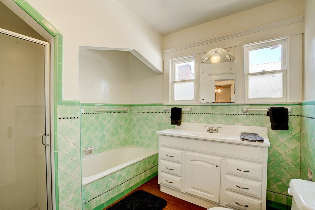 Period bathroom with original tile.