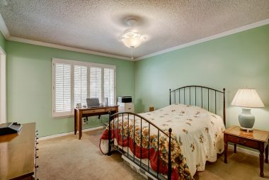 Master bedroom suite with crown moulding, plantation window shutters, and attached private bathroom.