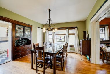 Large formal dining room with original built-in hutch which can accommodate large family settings for holiday gatherings.