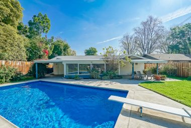 Lovely backyard with two covered patios, and in-ground pool with newer liner and newer motor and newer diving board.