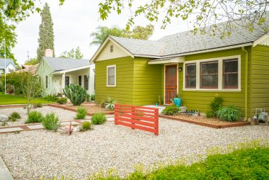 Drought-tolerant front yard landscape, with charming accent colors.