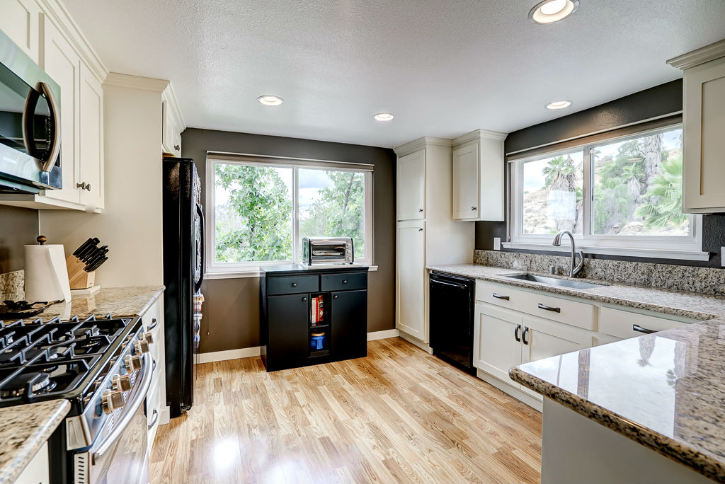 Remodeled kitchen with dishwasher, gas stove, built-in microwave, recessed lighting, and lots of natural light too. Refrigerator stays.
