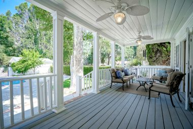 Quite spacious back covered porch with French doors off the living room.