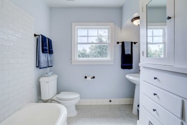 Lovely and bright upstairs hallway bathroom.