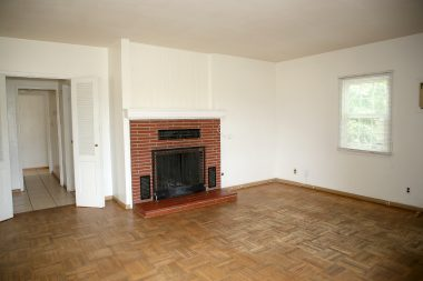 Gas and wood-burning fireplace in Living Room. Partial double pane windows.