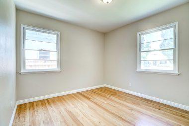 Front bedroom with hardwood floors.