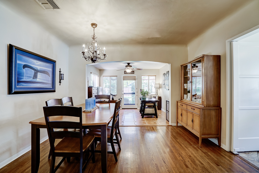 Formal dining room with view into family room.