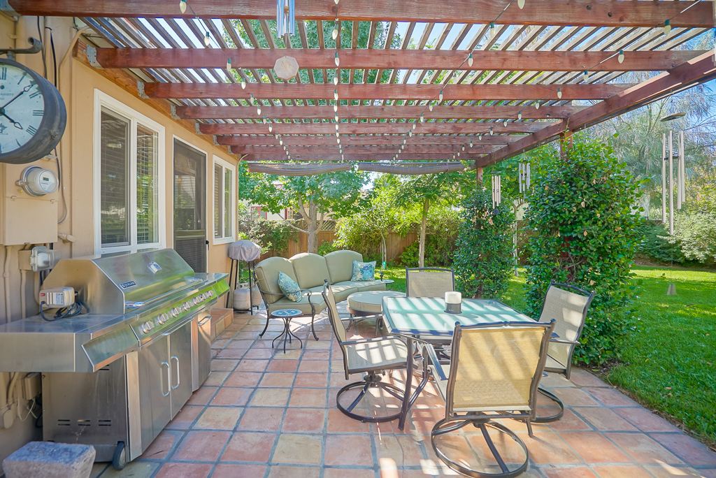 Lovely back patio with energy efficient lighting.