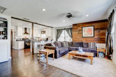 Open concept living room into kitchen. Great for entertaining or watching the kids while preparing meals.