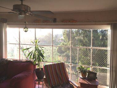 Rental house view from living room overlooking the Santa Ana River.
