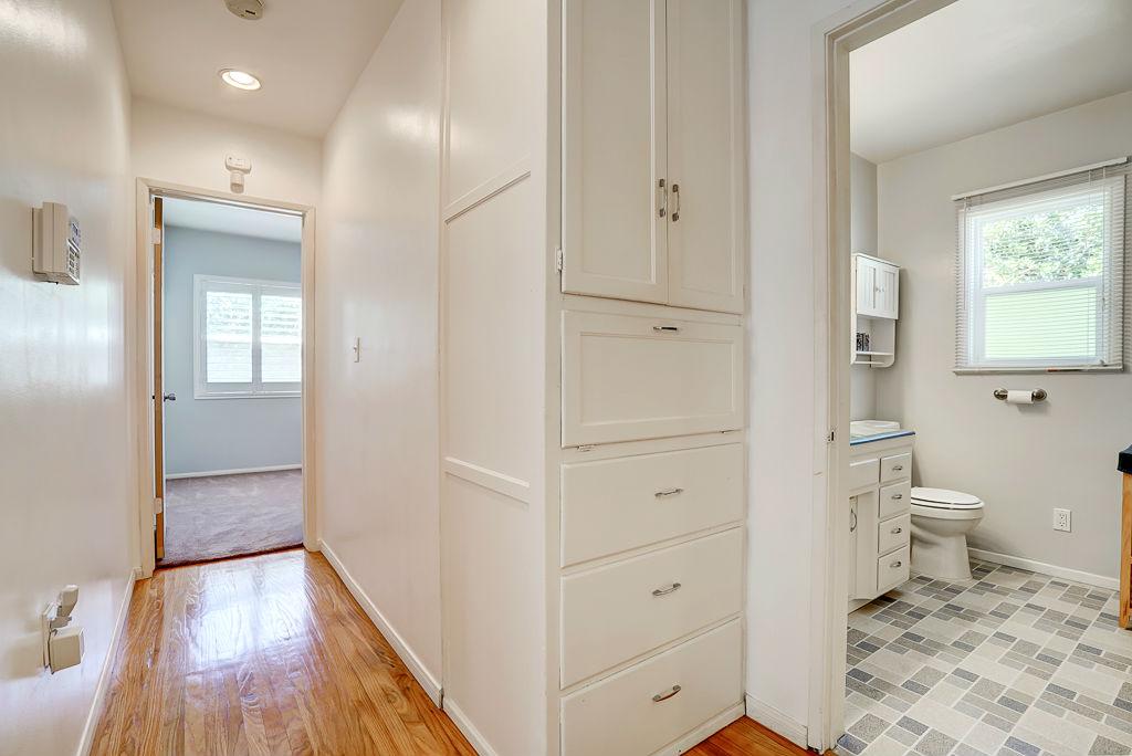 Hallway View Of Linen Closet, Master Bedroom, And Hallway Bathroom.