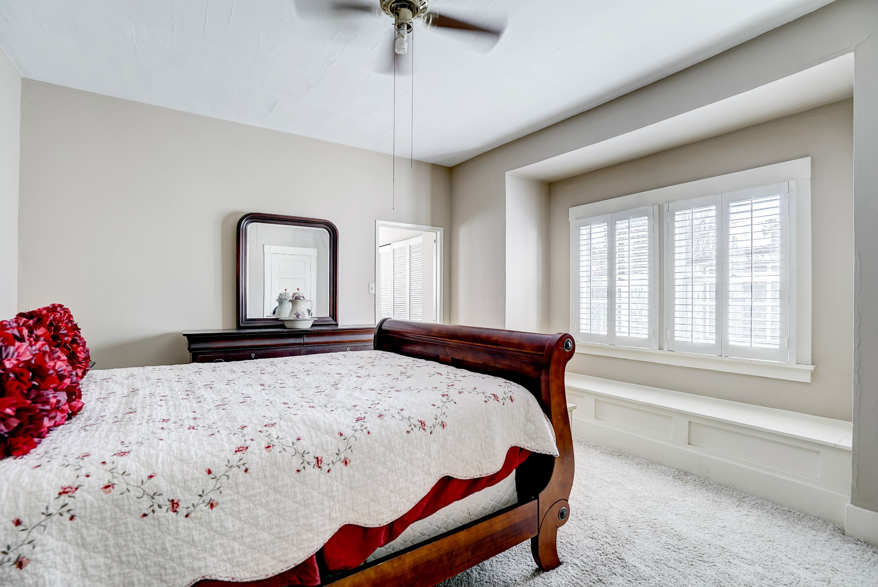 Alternate view of master suite with very large window seat with hidden storage.