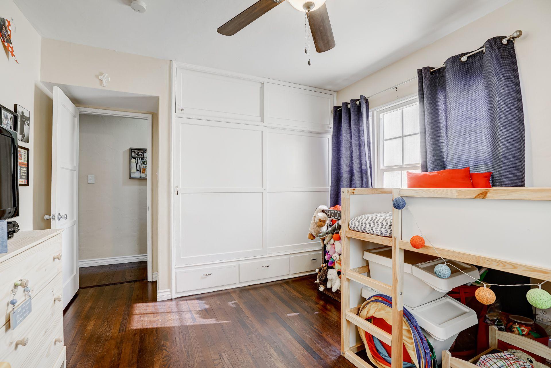 Wonderful closet space in back bedroom.