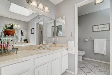 Master bathroom. A twin vanity is on the other side of this room.