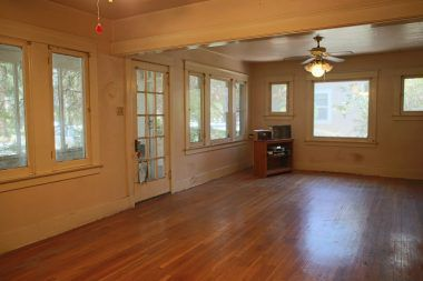 View into formal dining room from the fireplace.