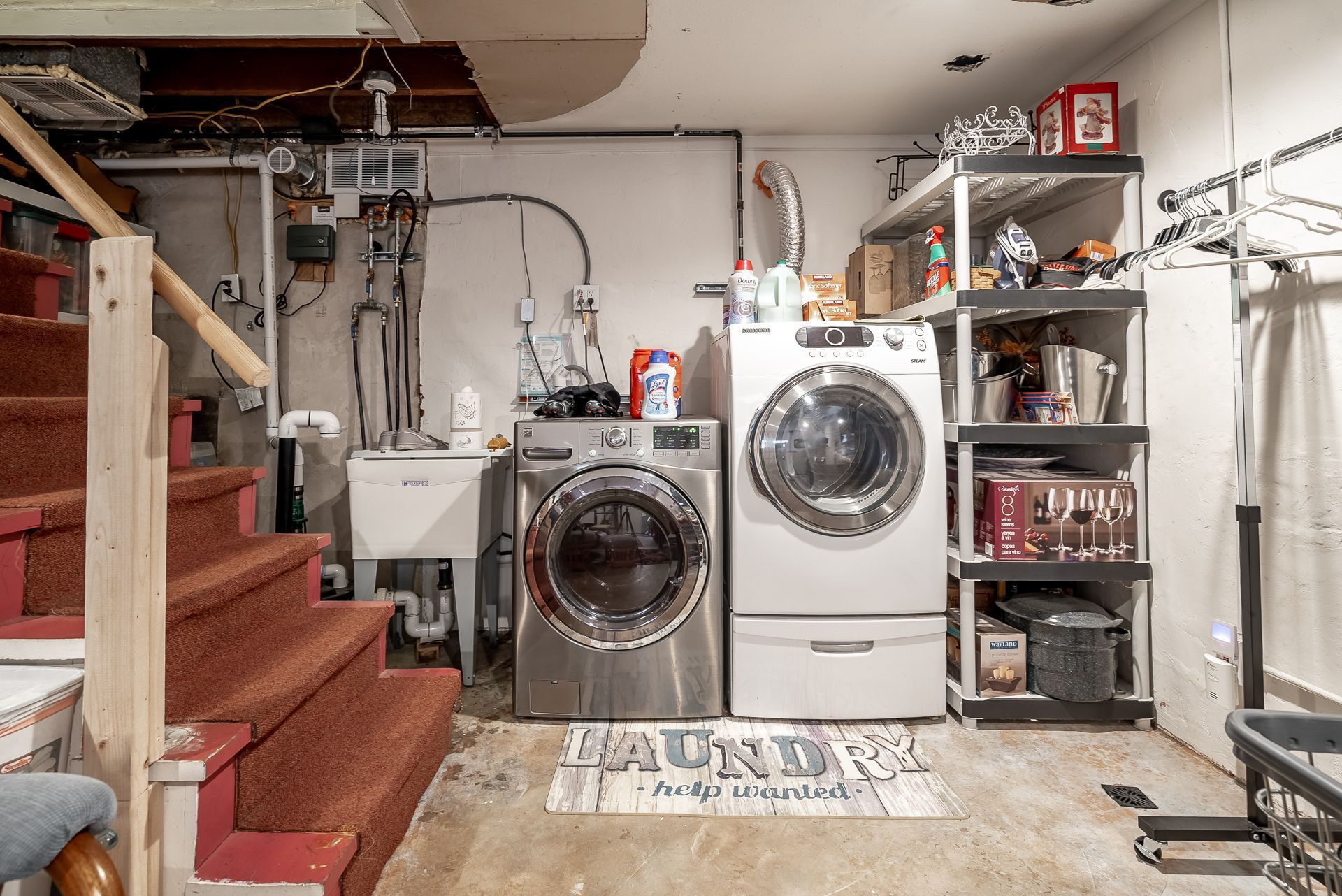 Alternate View Of Basement With Utility Sink And Laundry Area (units  Included U2014 Washer Is Only A Year Old, And Seller Is Unsure Of Gas Dryer  Age).