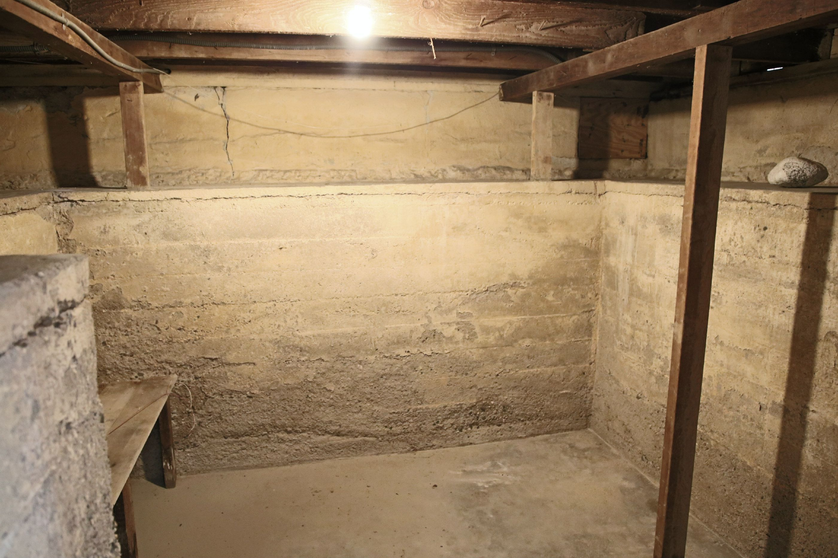 Basement is perfect for holiday storage bins or turn it into a wine cellar.