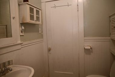 Alternate view of bathroom with bead board.