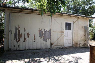 Garage with sliding door.
