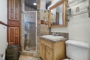 Upstairs remodeled bathroom.