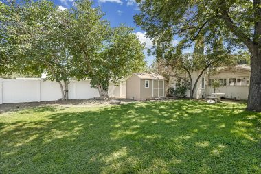Expansive green backyard with vinyl fences along once whole side, a Tuff shed with electricity, fire pit, tree swing on mature shade tree, and lots of room for the kids and pets to run around and play.