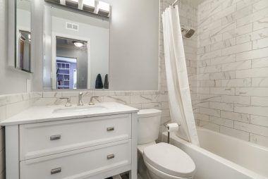 Lovely remodeled hallway bathroom.