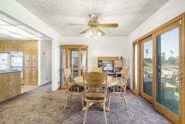 Formal dining area just off the kitchen, with incredible views of Mt. Rubidoux.