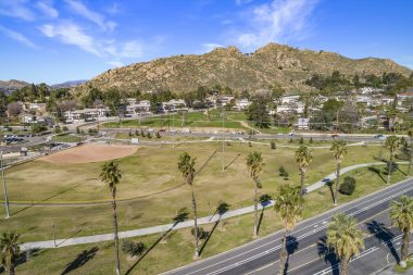 View of Bonaminio Park ball fields and walking track, as well as glorious Mt. Rubidoux.